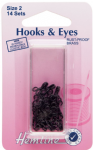 H401.2 Hooks and Eyes: Black - Size 2